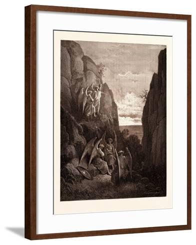 Ariel's Charge to Gabriel-Gustave Dore-Framed Art Print