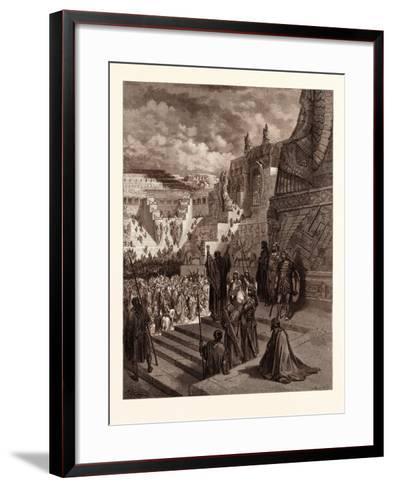 Artaxerxes Granting Liberty to the Jews-Gustave Dore-Framed Art Print