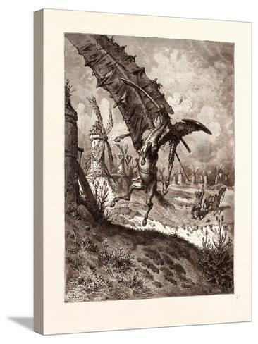 The Adventure with the Windmills-Gustave Dore-Stretched Canvas Print