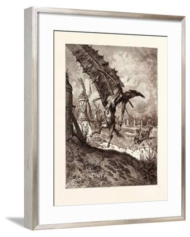 The Adventure with the Windmills-Gustave Dore-Framed Art Print