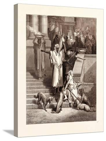 Lazarus at the Rich Man's Gate-Gustave Dore-Stretched Canvas Print