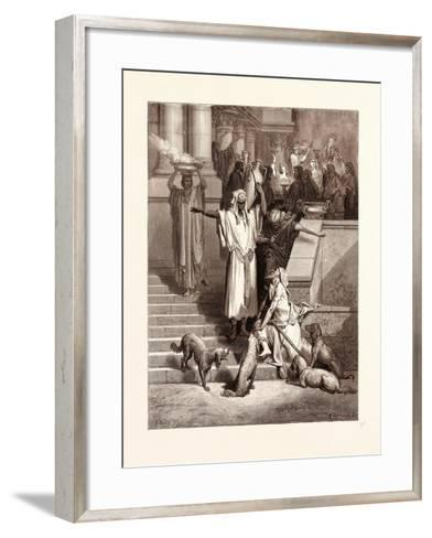 Lazarus at the Rich Man's Gate-Gustave Dore-Framed Art Print