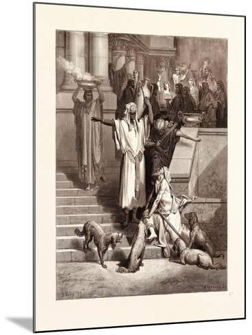 Lazarus at the Rich Man's Gate-Gustave Dore-Mounted Giclee Print