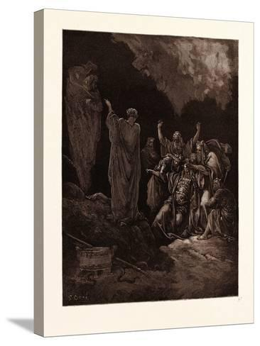 Saul and the Witch of Endor-Gustave Dore-Stretched Canvas Print