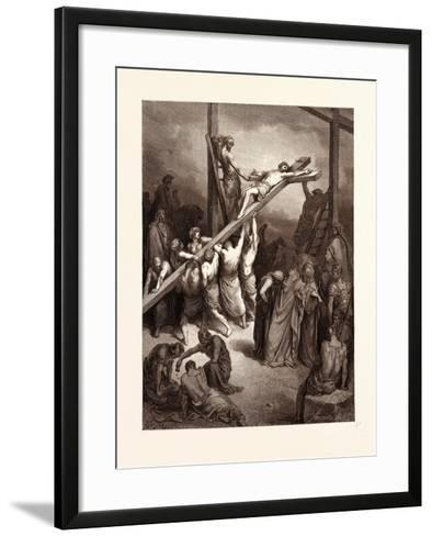 The Erection of the Cross-Gustave Dore-Framed Art Print