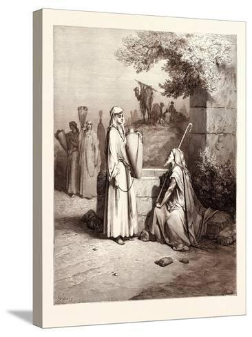 Eliezer and Rebekah-Gustave Dore-Stretched Canvas Print