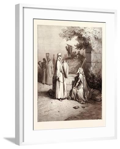 Eliezer and Rebekah-Gustave Dore-Framed Art Print