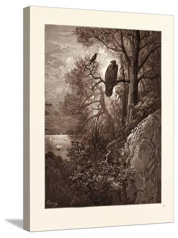 The Eagle and the Magpie-Gustave Dore-Stretched Canvas Print