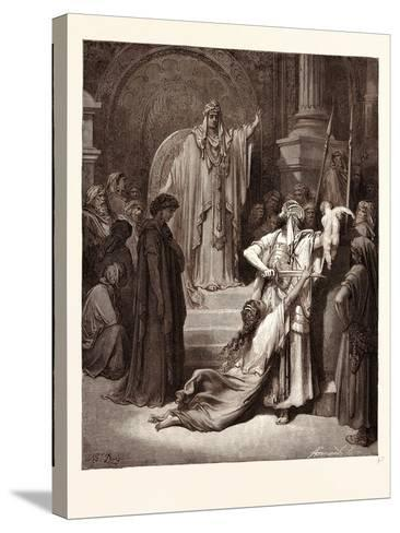 The Judgment of Solomon-Gustave Dore-Stretched Canvas Print