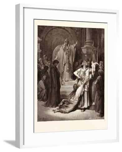 The Judgment of Solomon-Gustave Dore-Framed Art Print
