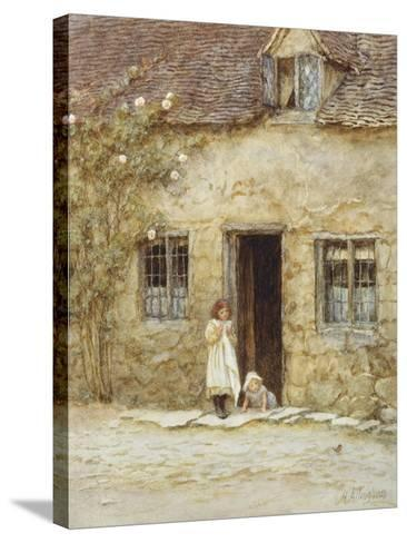 At the Cottage Door-Helen Allingham-Stretched Canvas Print