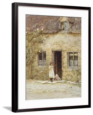 At the Cottage Door-Helen Allingham-Framed Art Print