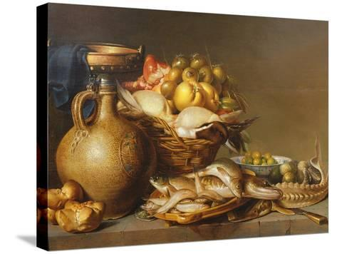 A Still Life of Fish and Other Food-Harmen van Steenwyck-Stretched Canvas Print