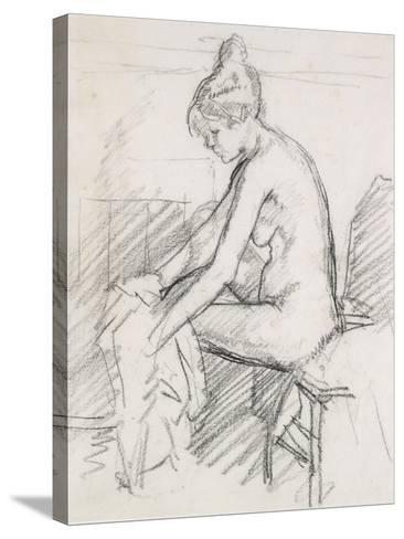 Study of a Nude Female, Seated, Drying Her Right Foot-Harold Gilman-Stretched Canvas Print