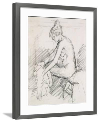 Study of a Nude Female, Seated, Drying Her Right Foot-Harold Gilman-Framed Art Print