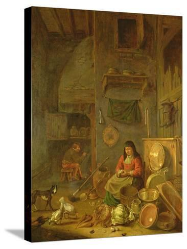 A Kitchen Interior with a Woman Peeling Potatoes Beside a Dog-Hendrik Martensz Sorgh-Stretched Canvas Print