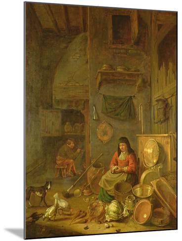 A Kitchen Interior with a Woman Peeling Potatoes Beside a Dog-Hendrik Martensz Sorgh-Mounted Giclee Print