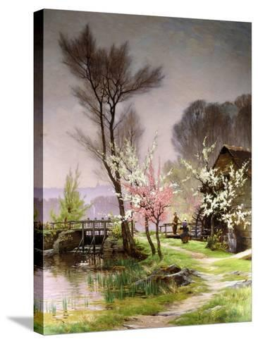 At the Watermill, Spring-Henri Saintain-Stretched Canvas Print