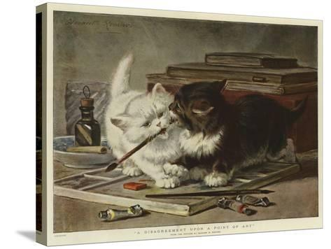A Disagreement Upon a Point of Art-Henriette Ronner-Knip-Stretched Canvas Print