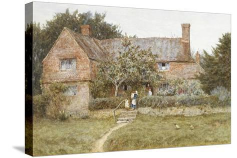 A Surrey Cottage with a Mother and Her Children (Watercolour with Scratching Out)-Helen Allingham-Stretched Canvas Print