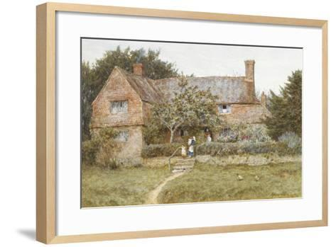 A Surrey Cottage with a Mother and Her Children (Watercolour with Scratching Out)-Helen Allingham-Framed Art Print