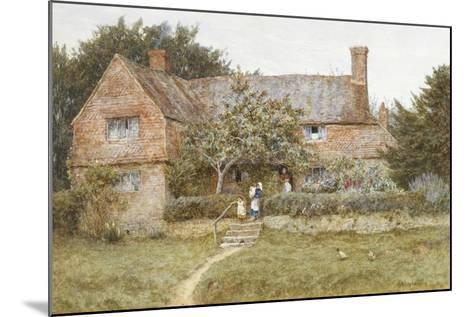 A Surrey Cottage with a Mother and Her Children (Watercolour with Scratching Out)-Helen Allingham-Mounted Giclee Print