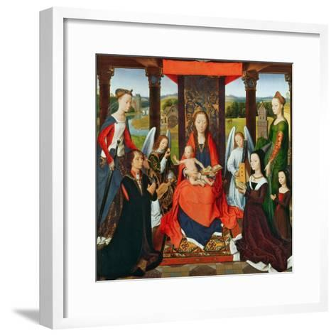 The Virgin and Child with Saints and Donors, a Panel from 'The Donne Triptych' C.1478 (Oil on Oak)-Hans Memling-Framed Art Print