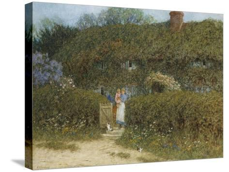 A Cottage at Freshwater, Isle of Wight (Watercolour and Bodycolour Heightened with Scratching Out)-Helen Allingham-Stretched Canvas Print