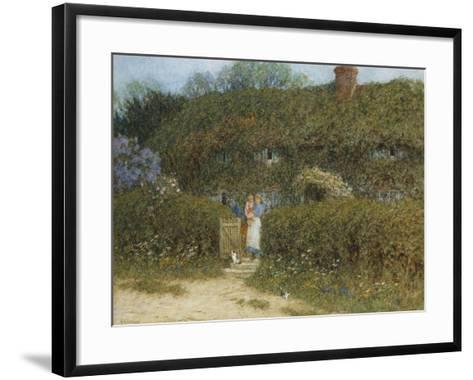 A Cottage at Freshwater, Isle of Wight (Watercolour and Bodycolour Heightened with Scratching Out)-Helen Allingham-Framed Art Print