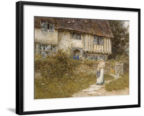 Beside the Old Church Gate Farm, Smarden, Kent (Watercolour with Scratching Out)-Helen Allingham-Framed Art Print
