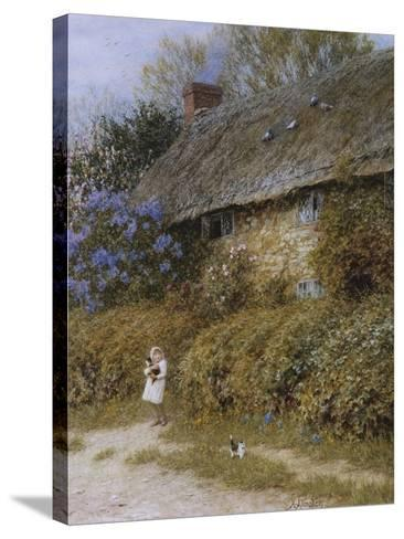 Old Cottage at Freshwater, Isle of Wight (Watercolour with Scratching Out)-Helen Allingham-Stretched Canvas Print