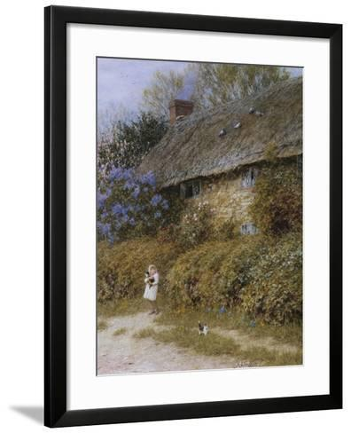 Old Cottage at Freshwater, Isle of Wight (Watercolour with Scratching Out)-Helen Allingham-Framed Art Print
