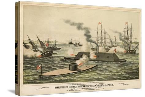 The First Battle Between 'Iron' Ships of War, Published C.1862-Henry Bill-Stretched Canvas Print