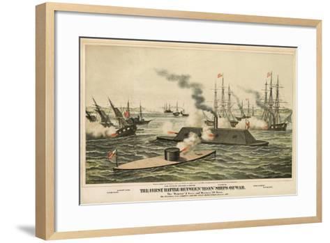 The First Battle Between 'Iron' Ships of War, Published C.1862-Henry Bill-Framed Art Print