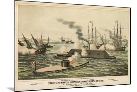 The First Battle Between 'Iron' Ships of War, Published C.1862-Henry Bill-Mounted Giclee Print