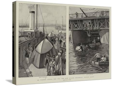 On Wheels across the Sea, the New Roller Steamboat Ernest Bazin-Henri Lanos-Stretched Canvas Print