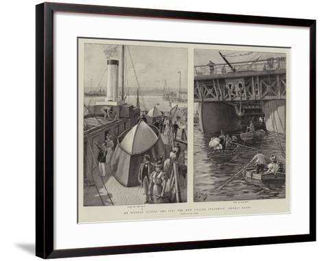 On Wheels across the Sea, the New Roller Steamboat Ernest Bazin-Henri Lanos-Framed Art Print