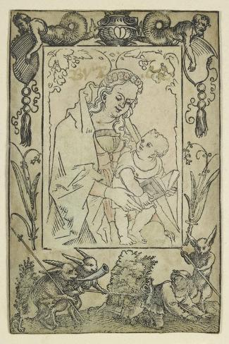 The Virgin and Child Surrounded by a Border with a Hunter and Some Rabbits (Woodcut-Hans Sebald Beham-Stretched Canvas Print
