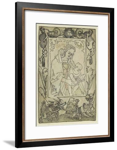 The Virgin and Child Surrounded by a Border with a Hunter and Some Rabbits (Woodcut-Hans Sebald Beham-Framed Art Print