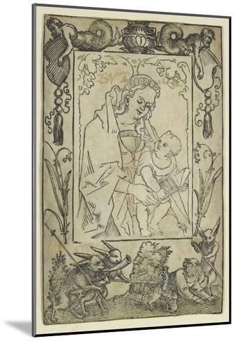 The Virgin and Child Surrounded by a Border with a Hunter and Some Rabbits (Woodcut-Hans Sebald Beham-Mounted Giclee Print