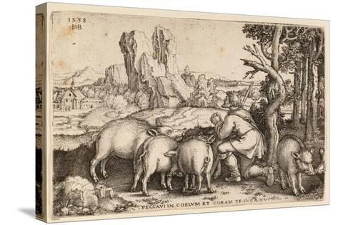The Prodigal Son with the Swine, 1538-Hans Sebald Beham-Stretched Canvas Print