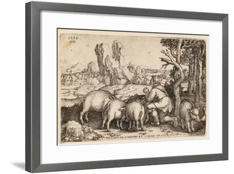 The Prodigal Son with the Swine, 1538-Hans Sebald Beham-Framed Art Print
