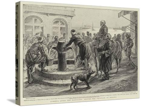 Armenia after the Massacres, around the Fountain at Mersina-Henri Lanos-Stretched Canvas Print