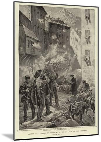 Easter Festivities in Corsica, a Feu De Joie in the Streets-Henri Lanos-Mounted Giclee Print