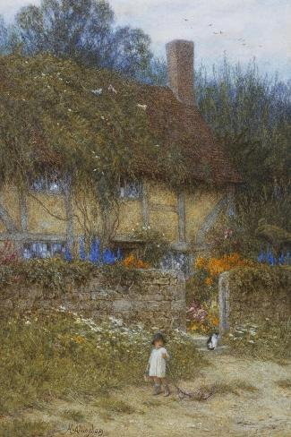 A Cottage Near Godalming, Surrey-Helen Allingham-Stretched Canvas Print