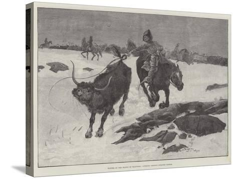 Winter on the Plains of Manitoba, Cowboys Chasing Strayed Cattle-Henry Charles Seppings Wright-Stretched Canvas Print