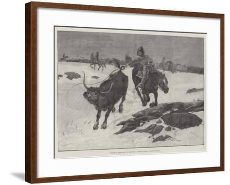 Winter on the Plains of Manitoba, Cowboys Chasing Strayed Cattle-Henry Charles Seppings Wright-Framed Art Print