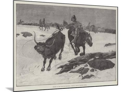 Winter on the Plains of Manitoba, Cowboys Chasing Strayed Cattle-Henry Charles Seppings Wright-Mounted Giclee Print