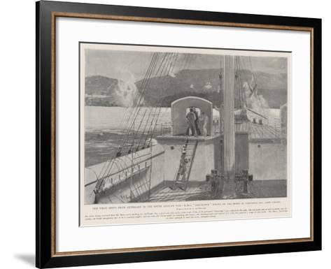 The First Shots from Shipboard in the South African War-Henry Charles Seppings Wright-Framed Art Print