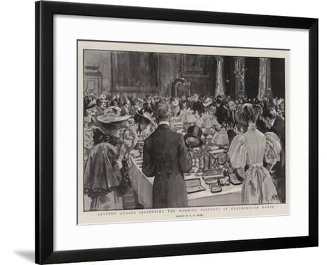 Invited Guests Inspecting the Wedding Presents at Marlborough House-Henry Marriott Paget-Framed Art Print